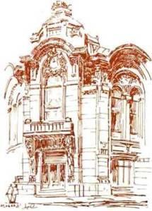 Здание Тифлисского банка. Гражд. инж. Г. М. Термикелов. 1900-е гг. Рисунок Ш. С. Фатуллаева