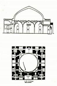 план и разрез Джума-мечети(Гянджа)