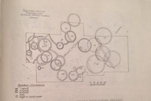Раскопочный план трех периодов возникновения поселений Гаргалар-тепеси